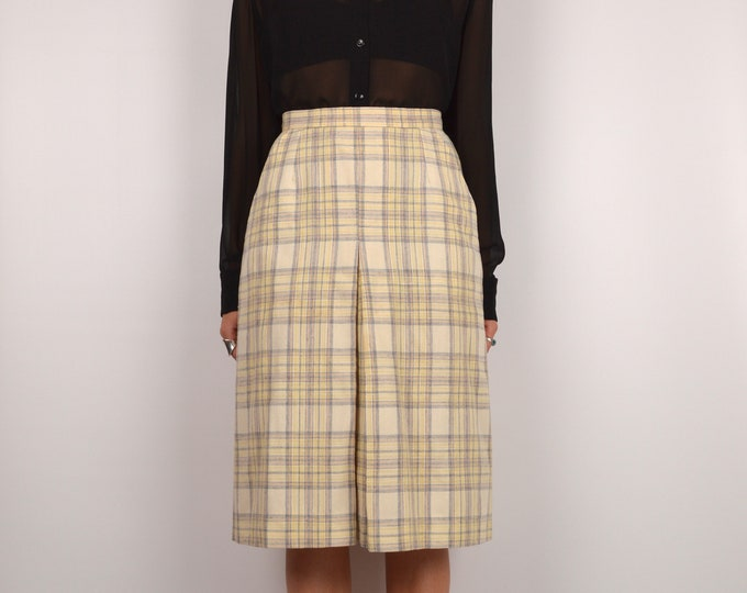 70's Pastel Plaid High Waist Skirt