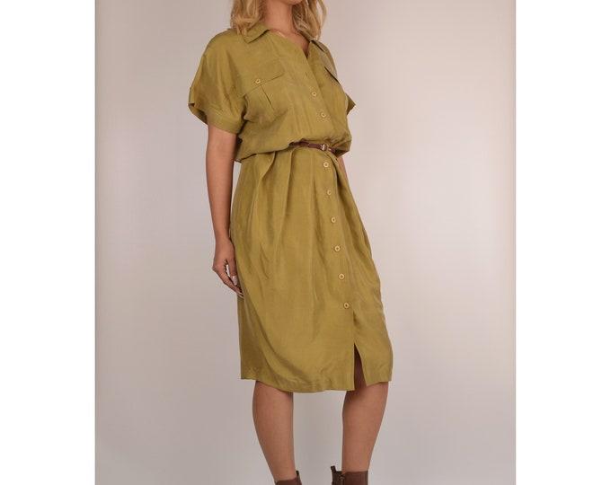 Vintage Olive SILK Midi Dress / M-L