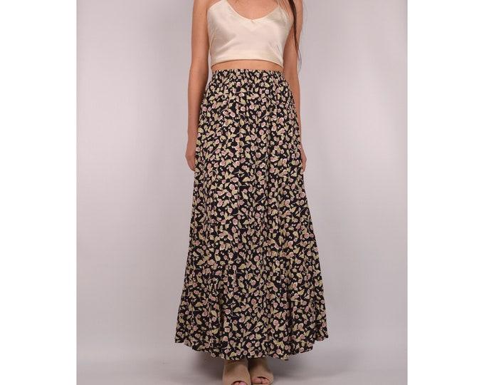 Vintage Rosebud Maxi Skirt / S-M