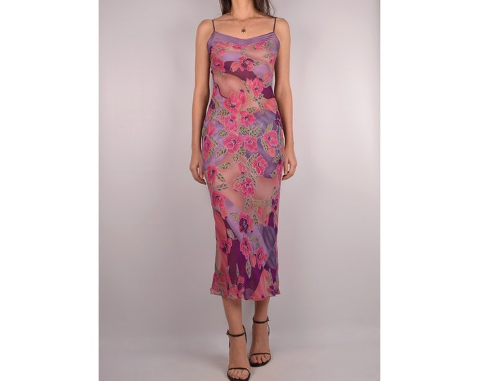 Sheer Silk Slip Midi Dress / XS