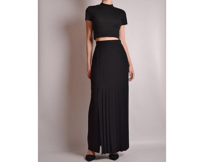 "Elegant Vintage Black Long Skirt (25.5""W) High Waist"