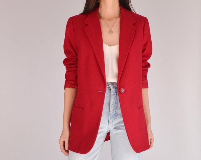 Vintage Cherry Red Wool Blazer (S - M)