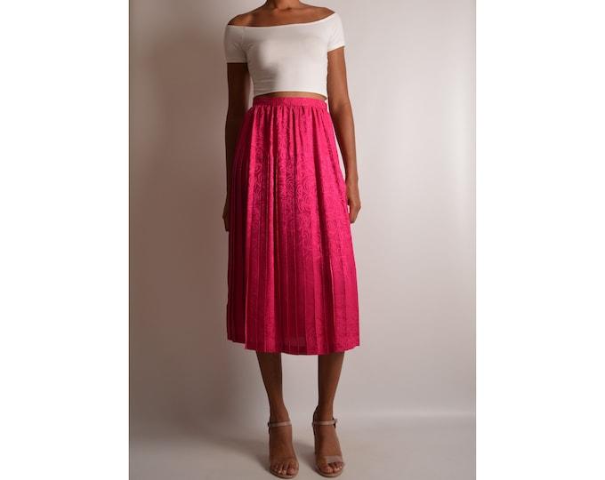 "Vintage Fuchsia Silk Pleated Skirt (25.5""W)"