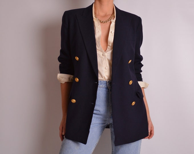 Vintage Navy Blazer w/ Gold Buttons (S-M)
