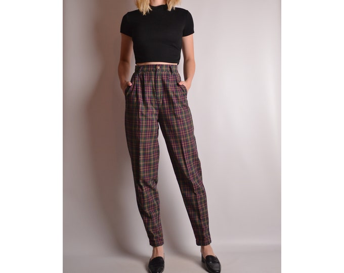 "Vintage Cotton Plaid Trouser (24""W) High Waist"