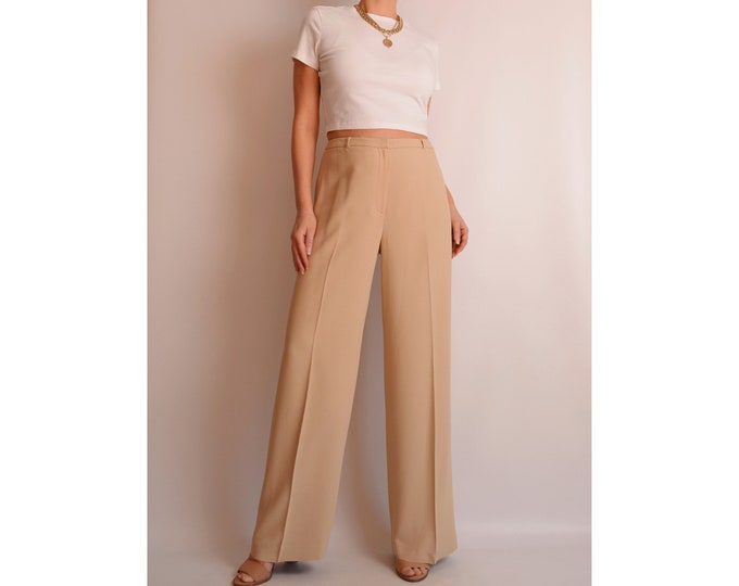 "Perfect Sand Wide Leg Trousers (31""W)"