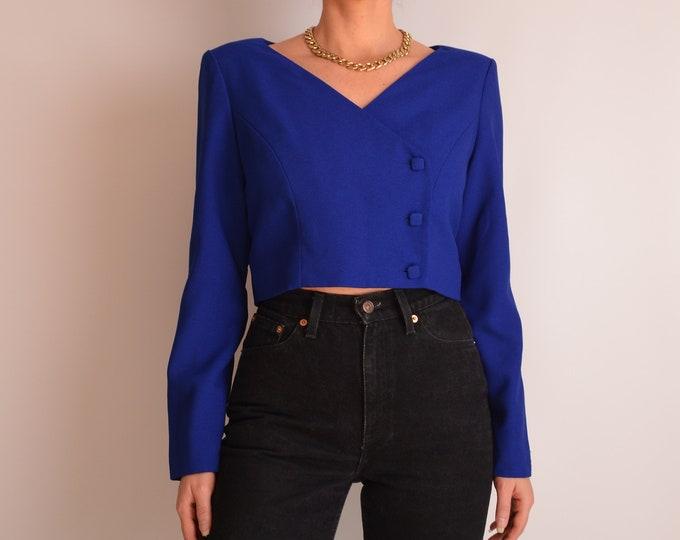 Elegant Vintage Blue Crop Blouse (M-L)