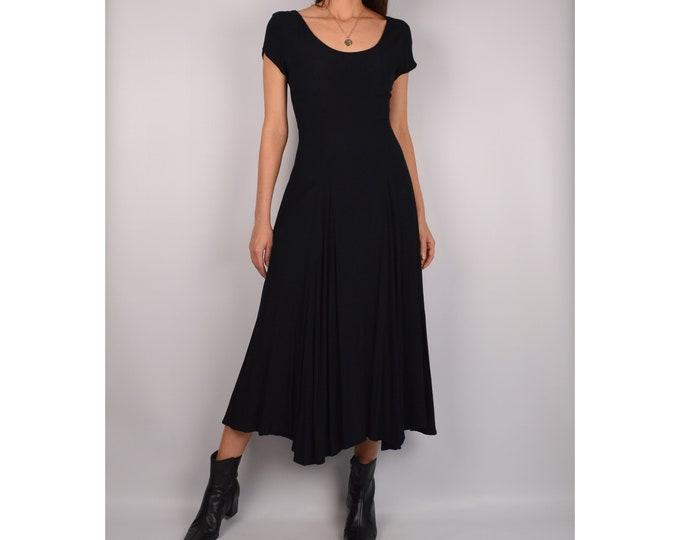 Vintage Scoop Neck Black Midi Dress (S)