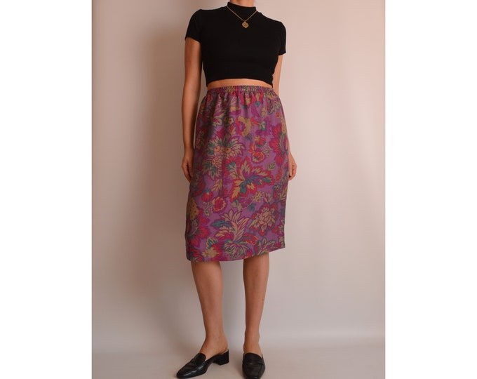 "Vintage Floral Silk Skirt (27""-29""W)"