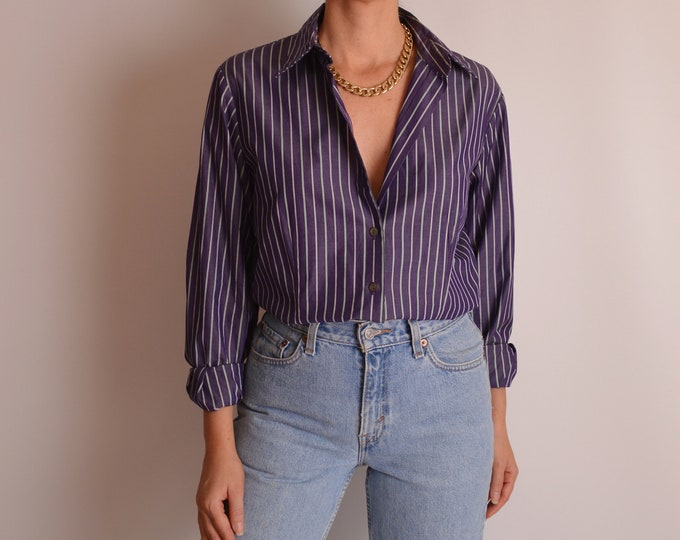 Vintage Cotton Striped Button Up (S-M)