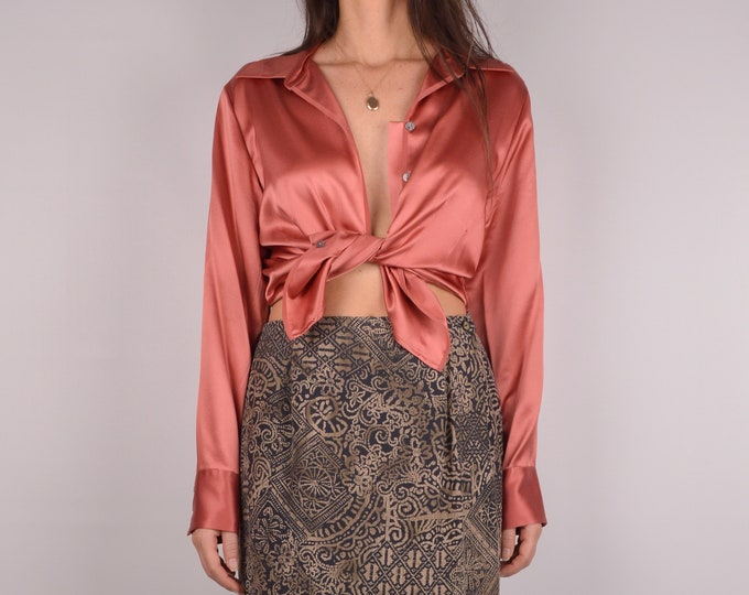 Coral SILK Button Up Blouse / S-M
