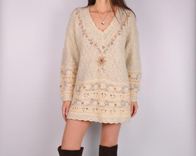 Vintage Cream Sweater Mini Dress (S-M)