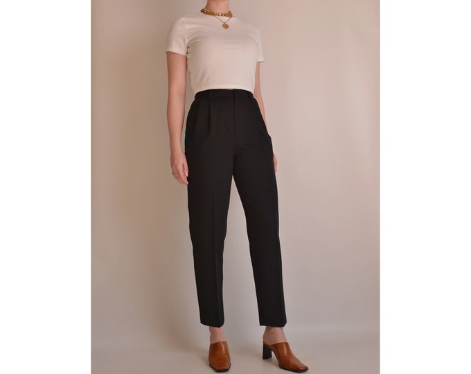 "Vintage Black Cropped Trousers (26.5""W)"