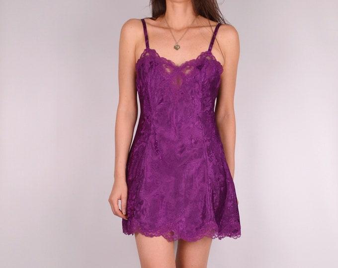Flash SALE! Vintage Plum Lace Mini Slip Dress (S)