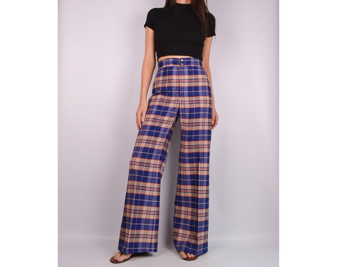 70's Plaid Wide Leg Flare Trousers (S)