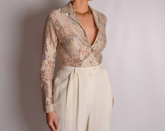Vintage Sheer Lace Blouse (S)
