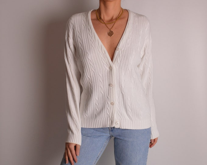 Cable Knit Cotton Cardigan Sweater (S-M)