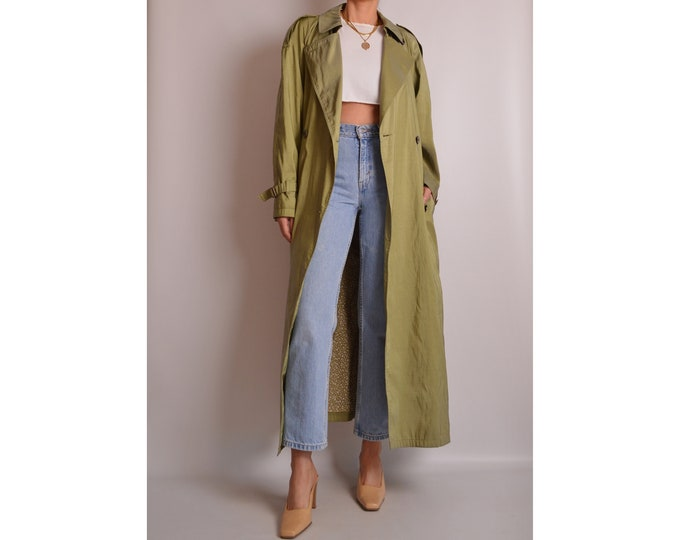 Vintage Pear Green Trench Coat (S-XL)