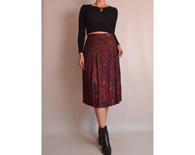 """Vintage Pleated Midi Skirt (28""""W)"""