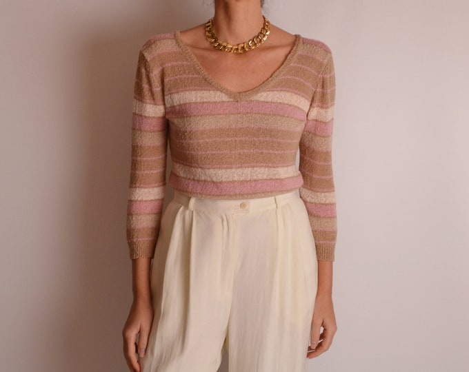Vintage Striped Knit Top (S)