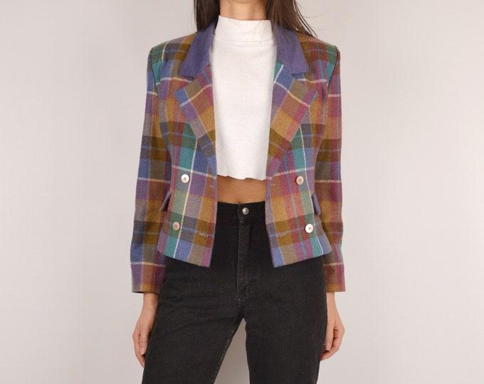90's Plaid Crop Blazer Jacket / S-M