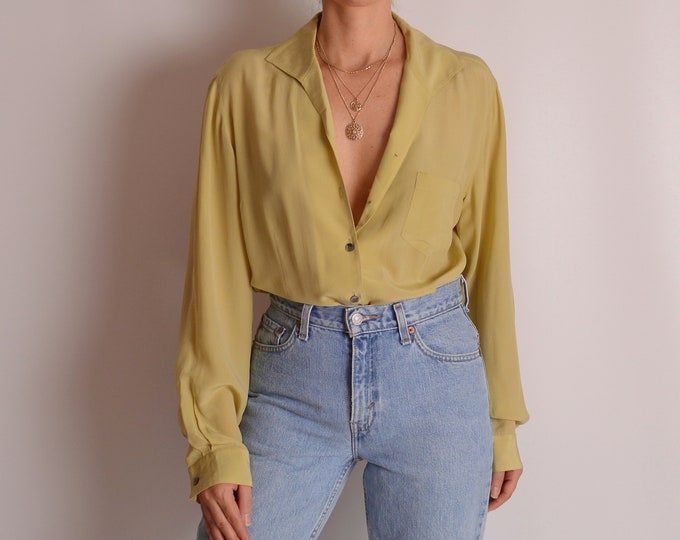 Vintage Chartreuse Silk Blouse (S-L)