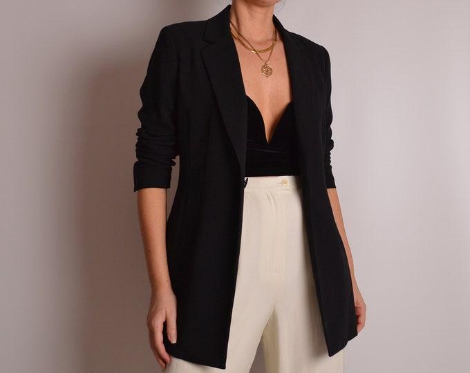 Vintage Minimalist Black Wool Blazer (S-M)
