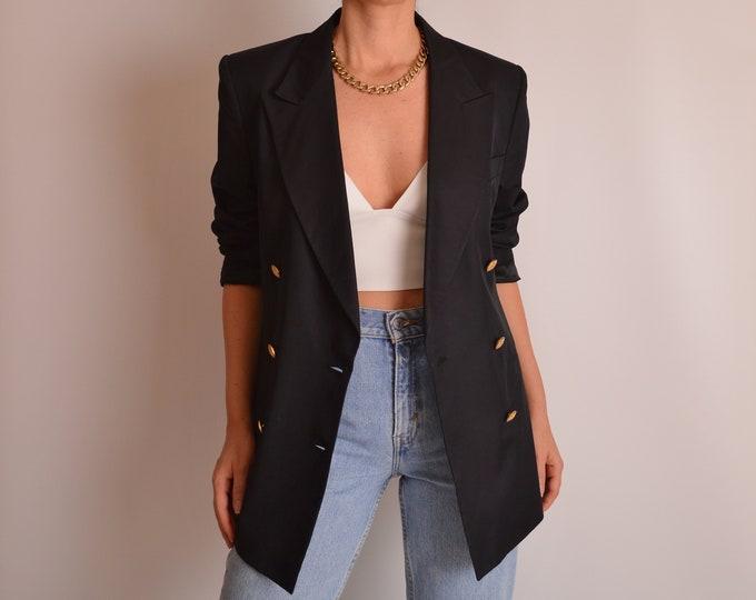 Vintage Black Silk Blazer w/ Gold Buttons (S)