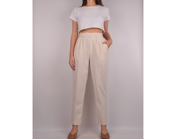 "Vintage Cream Trousers / 26""W High Waist"