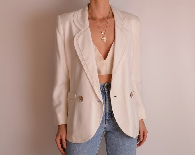 Vintage Ivory Linen Blazer & Skirt Suit (S-M)