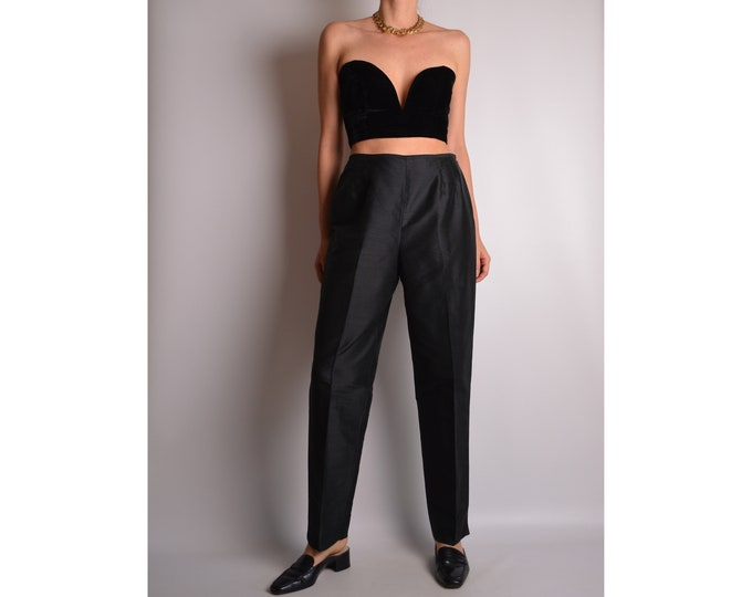 "Vintage Black Silk Trousers High Waist (28""W)"