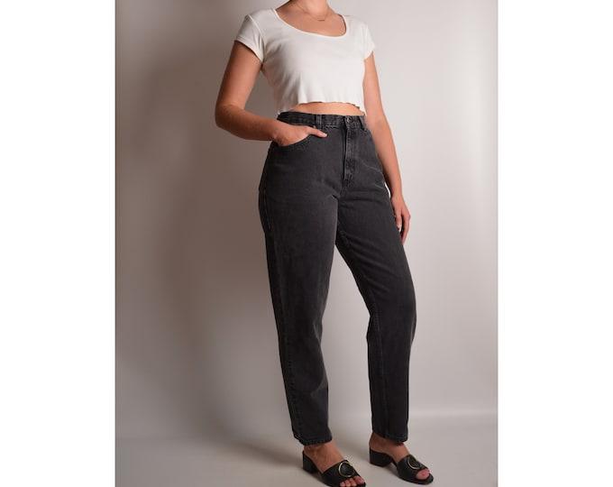 "Vintage Black Tapered High Waist Jeans (27""W)"