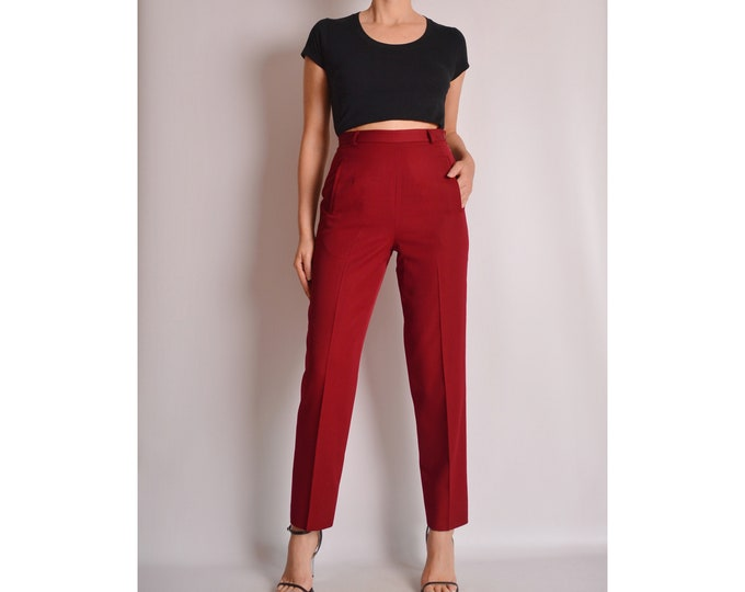 "Vintage Cherry Wool Trousers (27""W) High Waist"