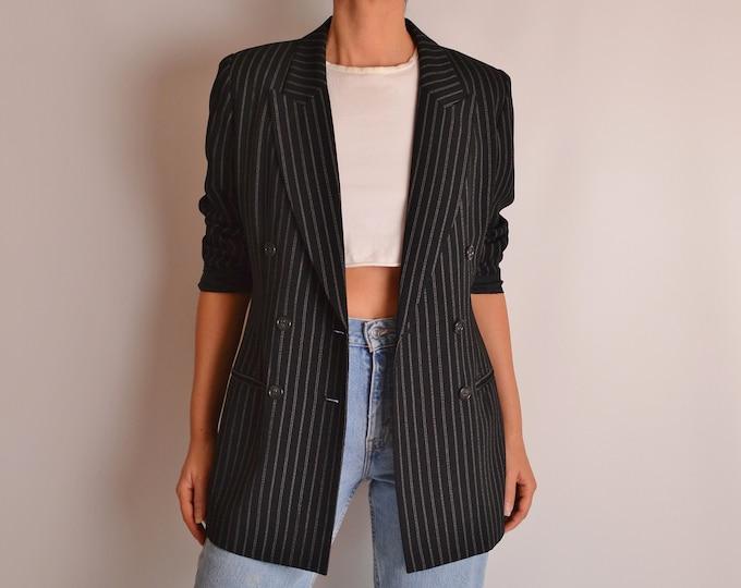 Vintage Black Pinstriped Blazer (S-M)