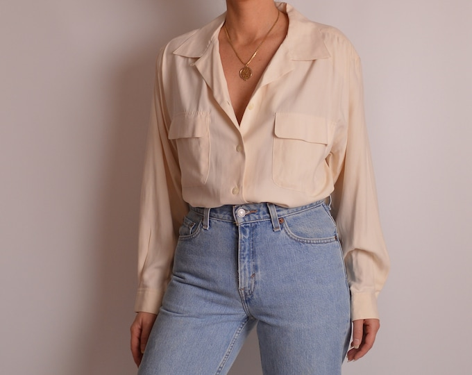 Vintage Cream SILK Blouse (S-L)