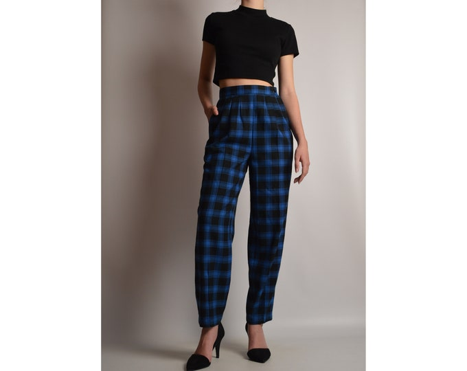 "Vintage Plaid Trouser (24.5""W) High Waist"