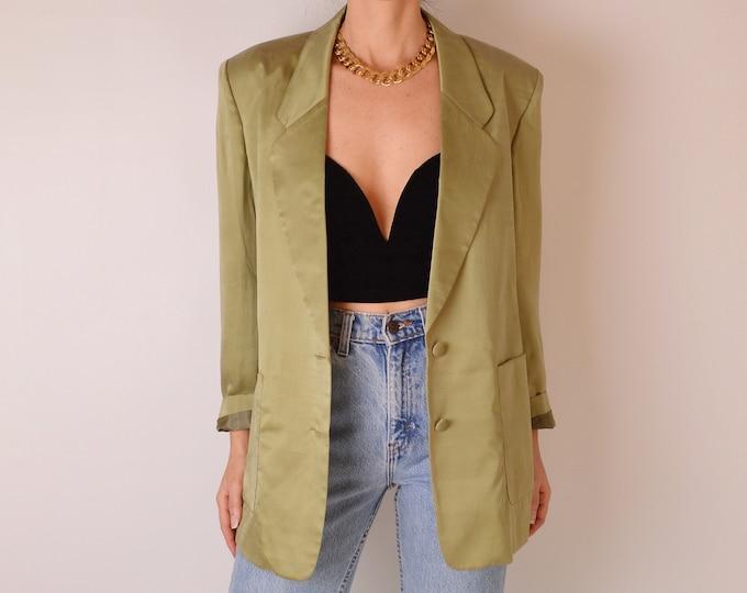Vintage Pear Green SILK Blazer (M-L)