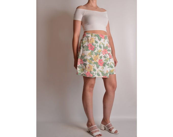 "Vintage Floral Denim SKORT (29""W) High Waist"