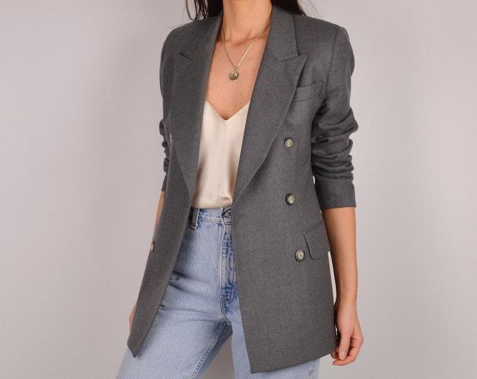 Vintage Gray Wool Blazer (XS-S)