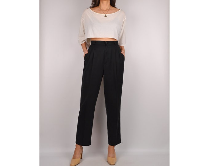 "Vintage Black Cropped Trousers (27""W)  High Waist minimalist pants"