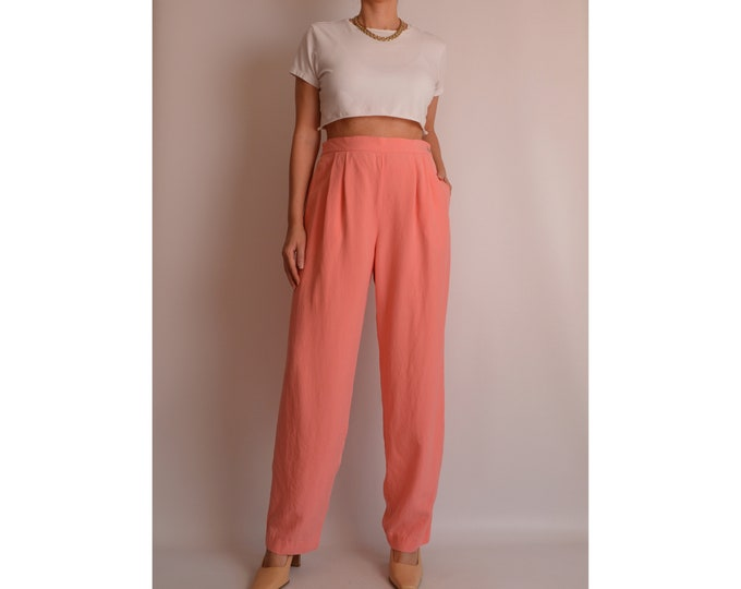 """Vintage Coral SILK Trousers (30""""W)"""