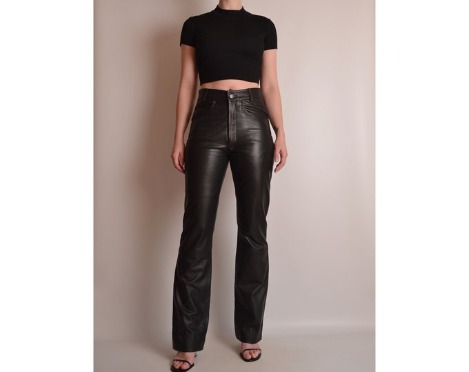 "Vintage Black Leather Pants (27""W) High Waist"