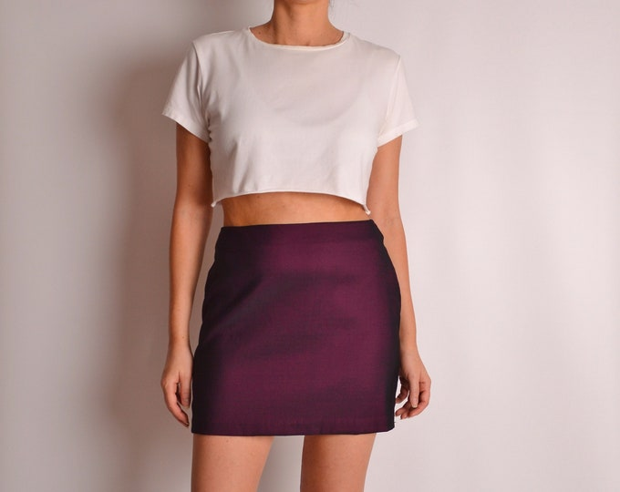 "Vintage Plum Mini Skirt (28""W)"