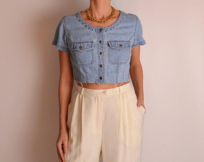 Vintage Denim Cut Off Crop Top (S-M)