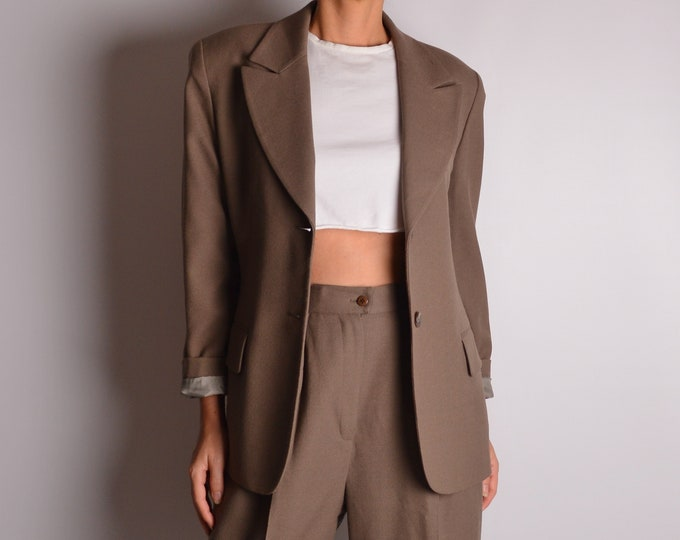 Vintage Taupe Wool Pant Suit (S-M)