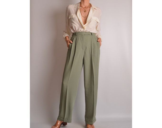 "Vintage Sage Trousers (26""W) high waist pants"