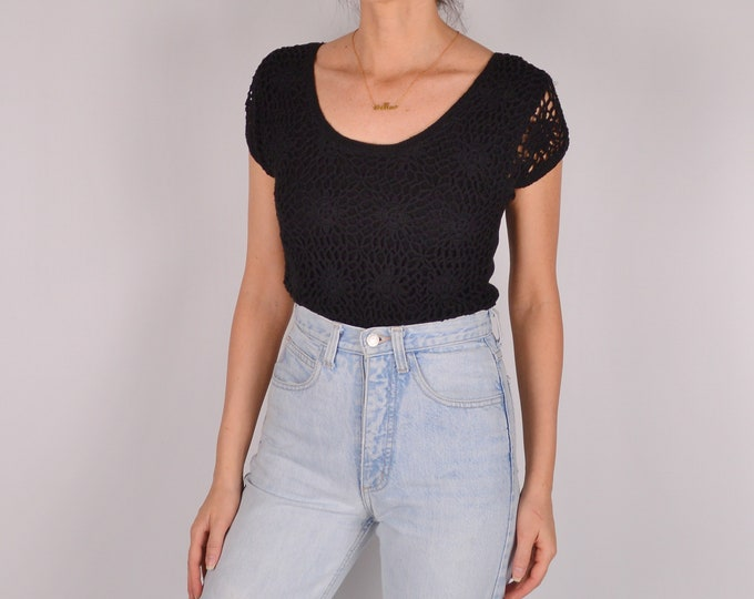 Vintage Hand Knit Crochet Top (S-M)