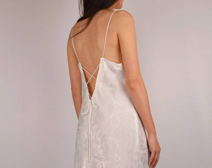 Vintage Open Back Slip Dress (M)