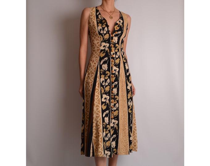 Vintage Floral Midi Dress (XS-S)