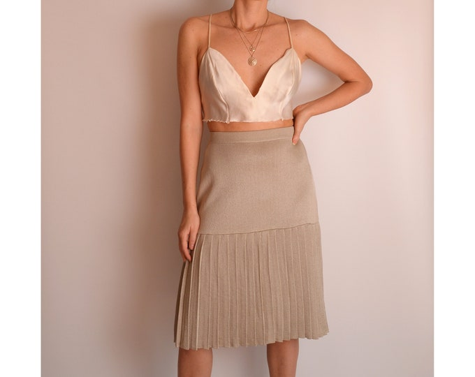 Vintage Gold Fan Pleated Skirt (XS-S)